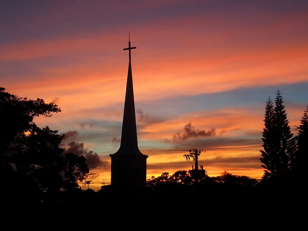 Church steeple and sunset