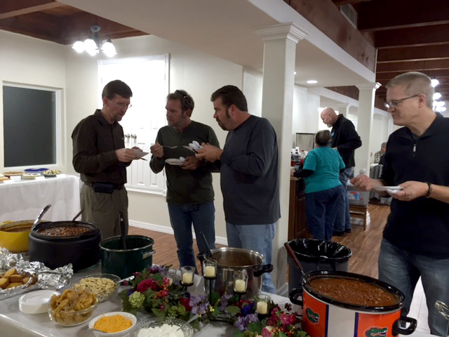 Comparing notes on chili cook-off