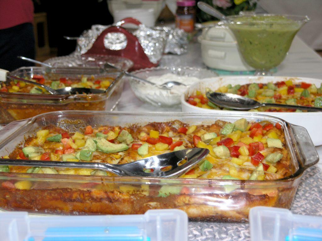Dishes of enchiladas