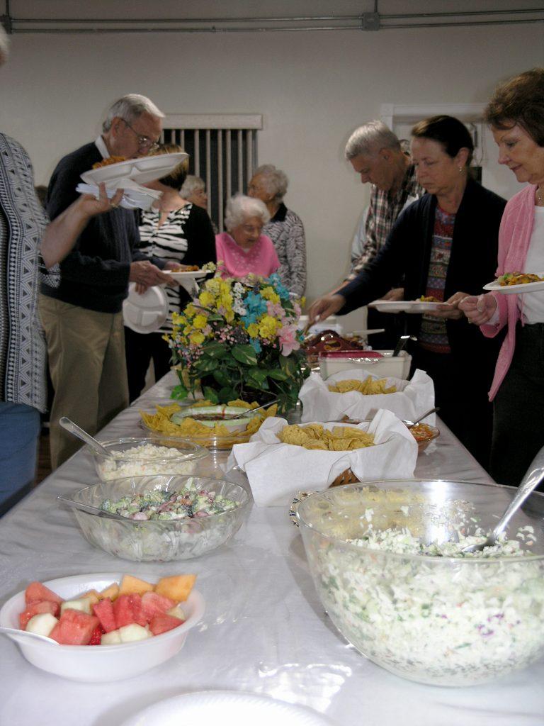 Food line at fellowship meal