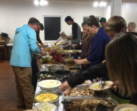 buffet line at fellowship meal