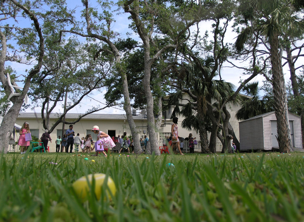 Church lawn with Resurrection Eggs on it