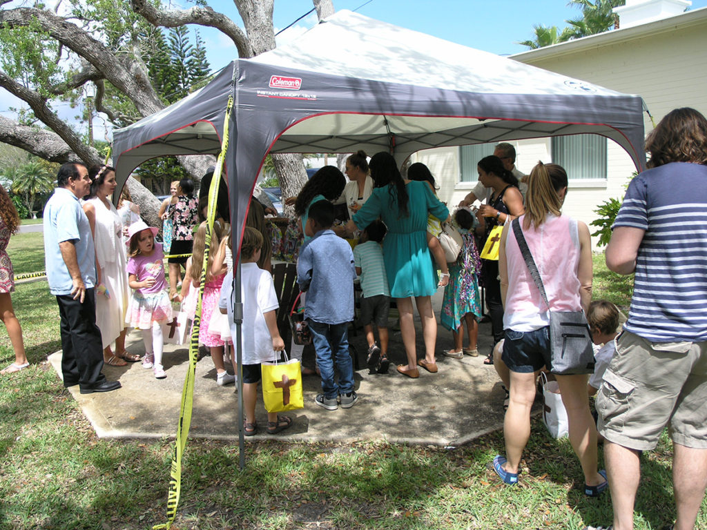 Prize tent at the church egg hunt in New Smyrna Beach