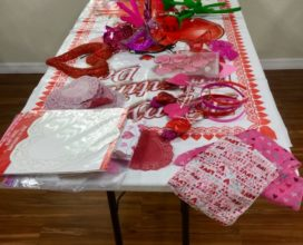 Valentine's table at church in New Smyrna Beach, Florida