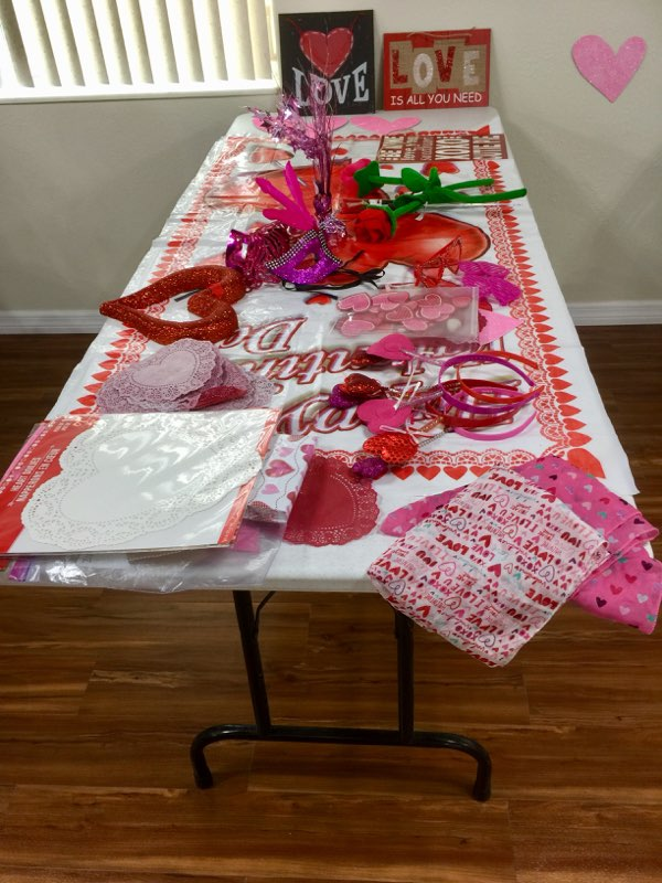 Valentine's table at church in New Smyrna Beach, Florida