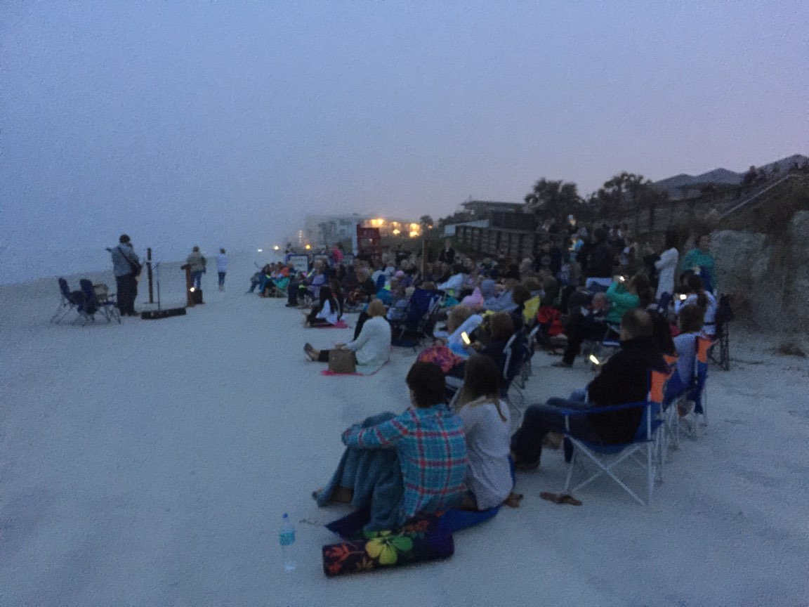 Good Morning Crowd Sunday April 1 2018 Easter Service On Beach