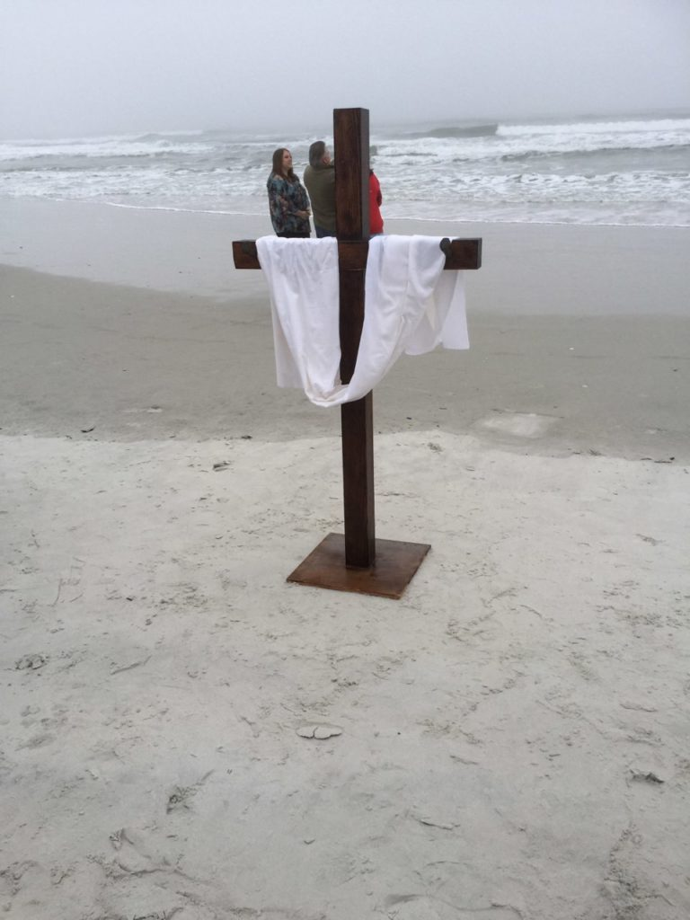 Cross on Beach for Easter Service