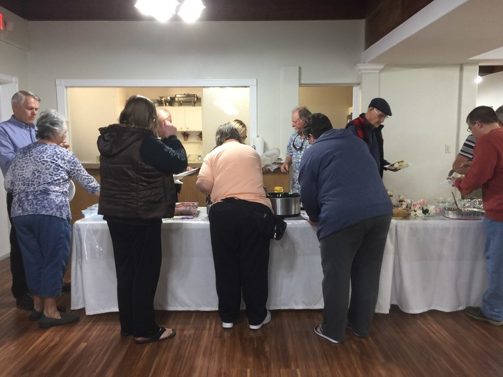 serving line for church fellowship meal